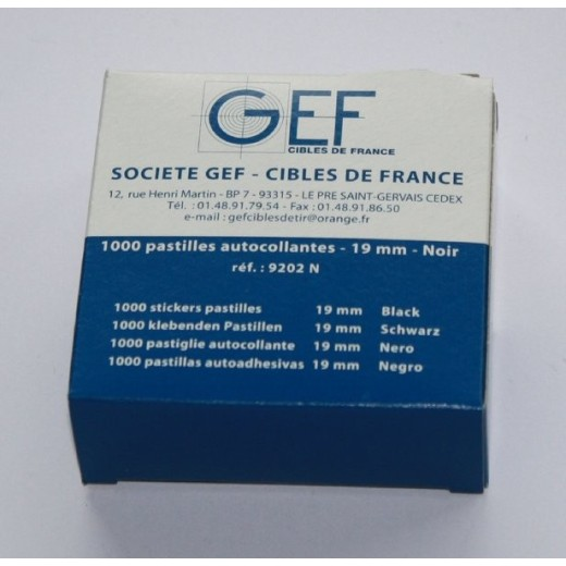 1 000 pastilles autocollantes de tir marron 24mm GEF (IPSC)
